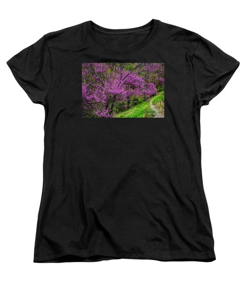 Women's T-Shirt (Standard Cut) featuring the photograph Redbud And Path by Thomas R Fletcher