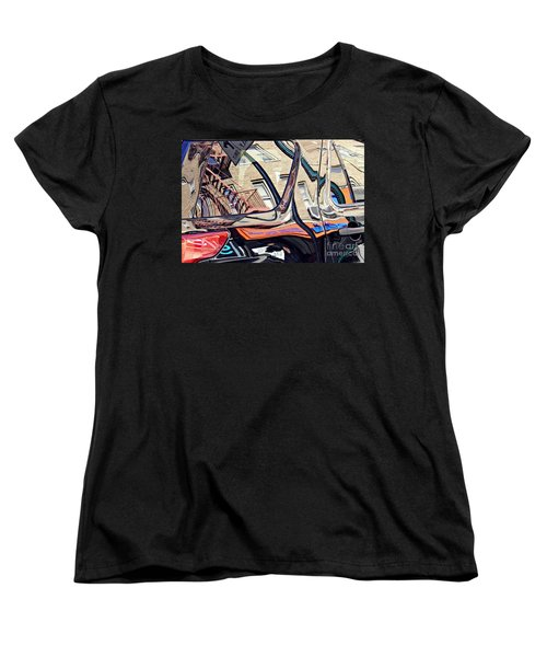 Women's T-Shirt (Standard Cut) featuring the photograph Reflection On A Parked Car 18 by Sarah Loft