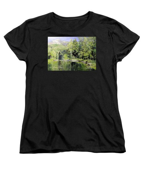 Women's T-Shirt (Standard Cut) featuring the painting Reflections by Laurie Rohner