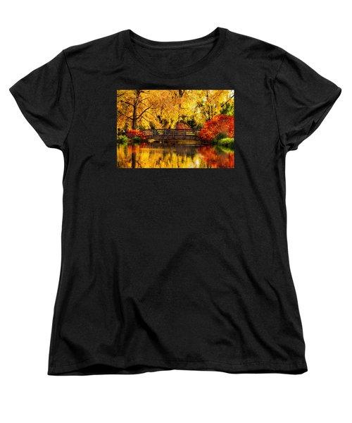 Women's T-Shirt (Standard Cut) featuring the photograph Reflections Of Fall by Kristal Kraft