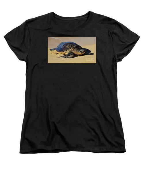 Women's T-Shirt (Standard Cut) featuring the photograph Resting Sea Turtle by Craig Wood