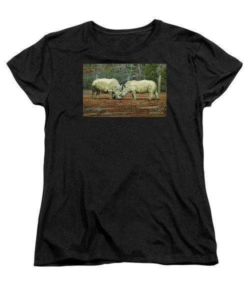 Rhinos In Love Women's T-Shirt (Standard Cut) by Melissa Messick