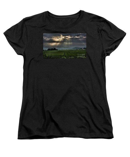 Rice Fields Rays Light  Women's T-Shirt (Standard Cut) by Chuck Kuhn