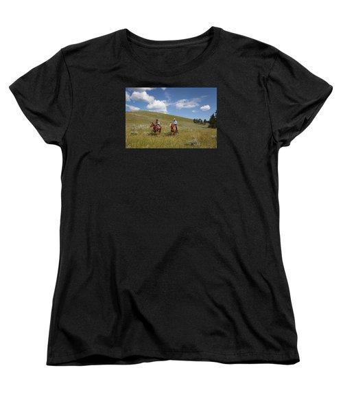 Riding Fences Women's T-Shirt (Standard Cut) by Diane Bohna