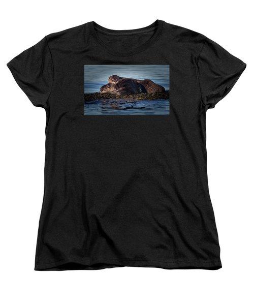River Otters Women's T-Shirt (Standard Cut) by Randy Hall