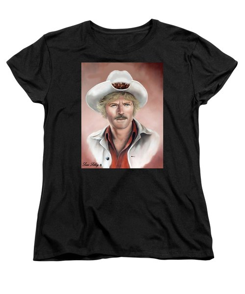 Women's T-Shirt (Standard Cut) featuring the painting Robert Redford by Loxi Sibley