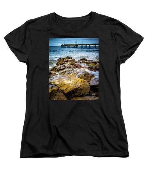 Women's T-Shirt (Standard Cut) featuring the photograph Rock Pier by Perry Webster