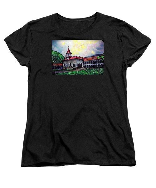Romanian Monastery Women's T-Shirt (Standard Cut) by Sarah Loft