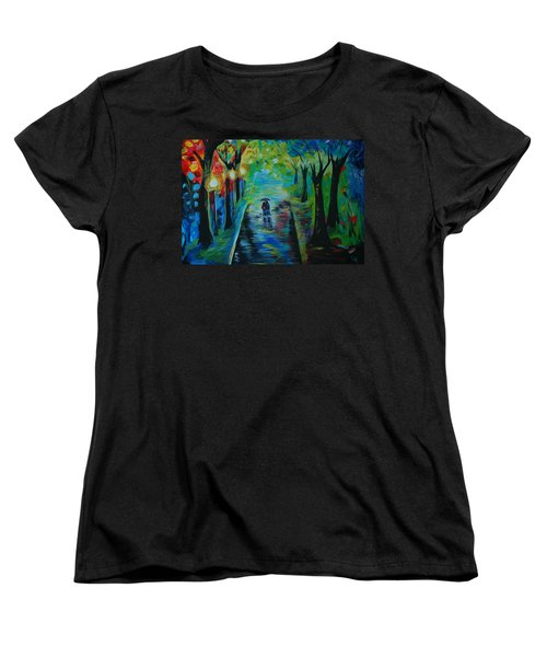 Women's T-Shirt (Standard Cut) featuring the painting Romantic Stroll by Leslie Allen
