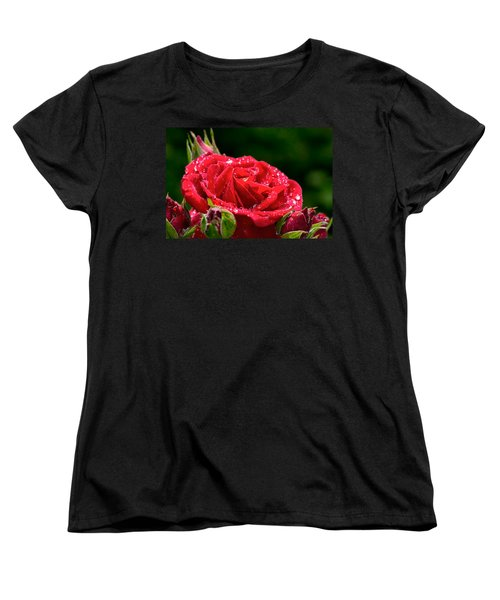 Women's T-Shirt (Standard Cut) featuring the photograph Rose After Rain by Leif Sohlman