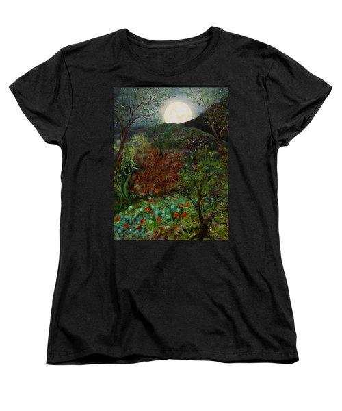 Rose Moon Women's T-Shirt (Standard Cut) by FT McKinstry