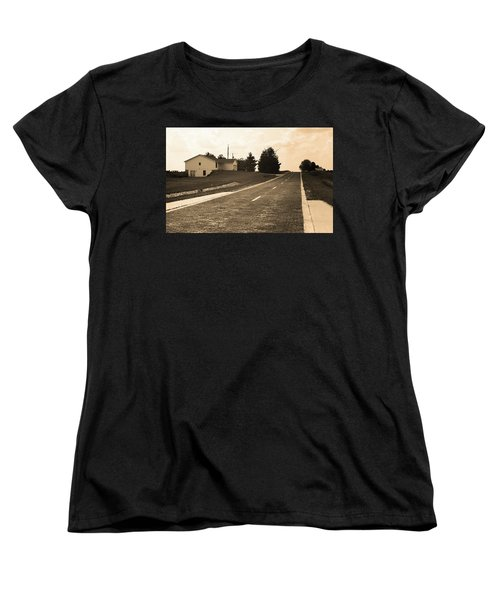 Women's T-Shirt (Standard Cut) featuring the photograph Route 66 - Brick Highway Sepia by Frank Romeo