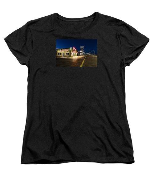 Route 66 Pier Burger Women's T-Shirt (Standard Cut) by John McGraw