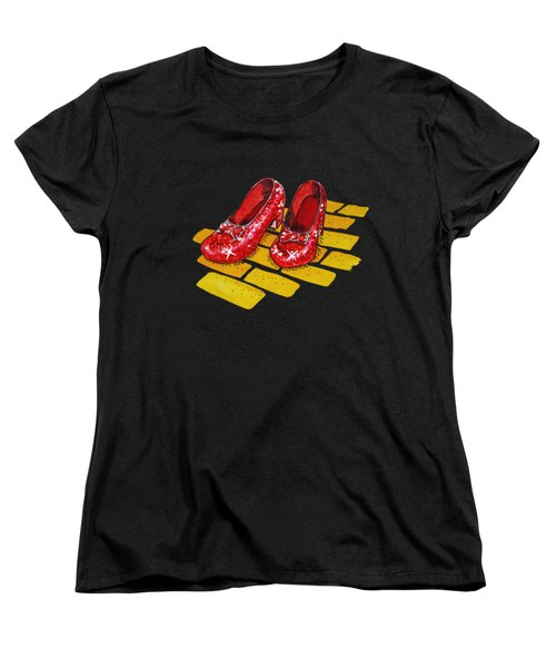 Ruby Slippers The Wonderful Wizard Of Oz Women's T-Shirt (Standard Cut) by Irina Sztukowski