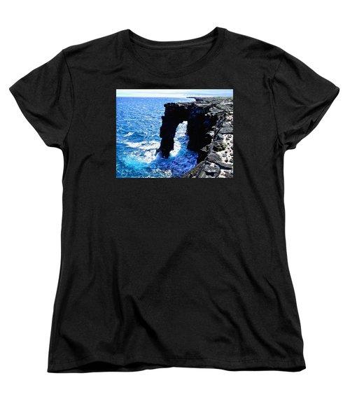 Women's T-Shirt (Standard Cut) featuring the photograph Rugged Kona Sea Arch by Amy McDaniel