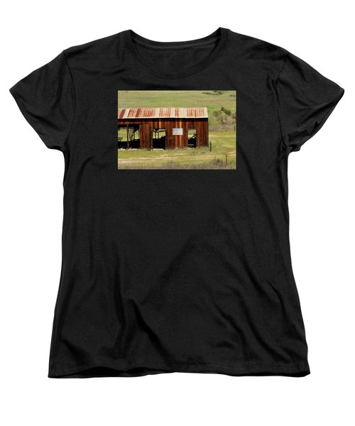 Women's T-Shirt (Standard Cut) featuring the photograph Rustic Barn With Flag by Art Block Collections