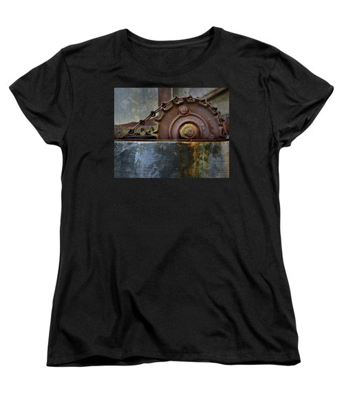 Women's T-Shirt (Standard Cut) featuring the photograph Rustic Gear And Chain by David and Carol Kelly