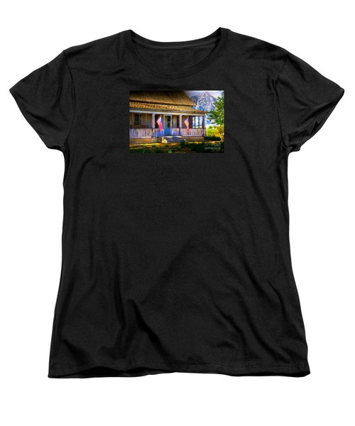 Women's T-Shirt (Standard Cut) featuring the photograph Rustic Patriotic House by Kelly Wade