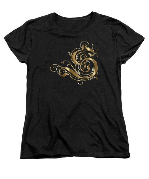 S Golden Ornamental Letter Typography Women's T-Shirt (Standard Cut) by Georgeta Blanaru