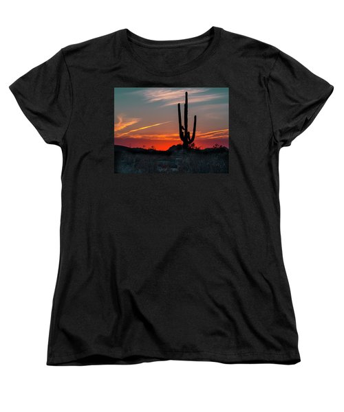 Sagauro Sunset Women's T-Shirt (Standard Cut) by Penny Lisowski