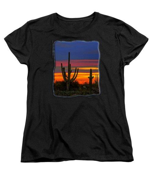 Saguaro Sunset V31 Women's T-Shirt (Standard Cut) by Mark Myhaver