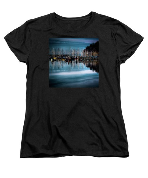 Sailboats At Sunset Women's T-Shirt (Standard Cut) by David Patterson