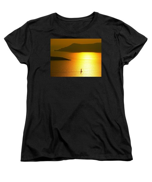 Women's T-Shirt (Standard Cut) featuring the photograph Sailing On Gold 1 by Ana Maria Edulescu