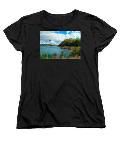 Sails In The Distance Women's T-Shirt (Standard Cut) by Cedric Hampton