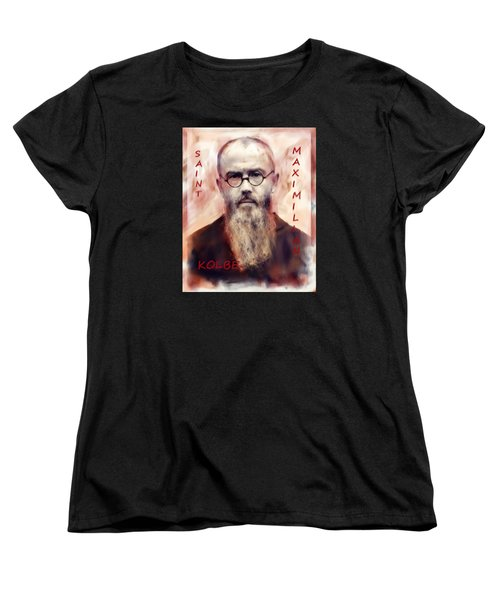 Women's T-Shirt (Standard Cut) featuring the painting Saint Maximilion Kolbe by Suzanne Silvir