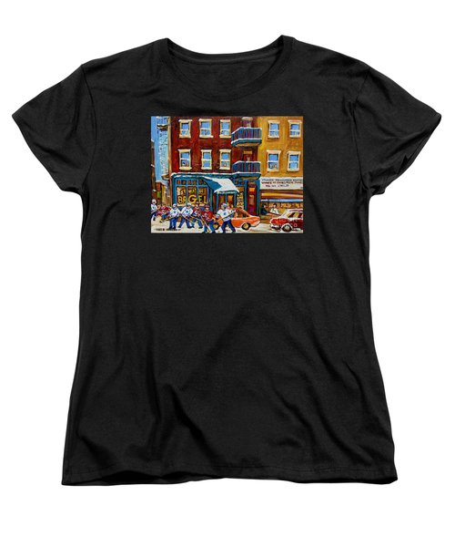 Saint Viateur Bagel With Hockey Women's T-Shirt (Standard Cut) by Carole Spandau