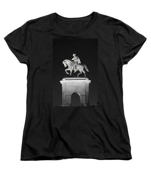 Sam Houston - Black And White Women's T-Shirt (Standard Cut) by David Morefield