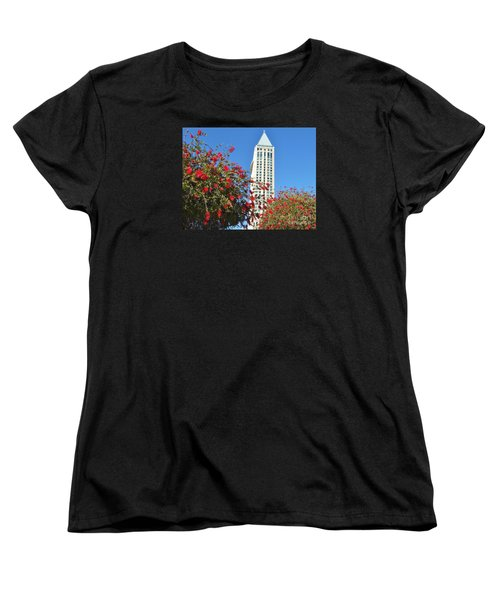 Women's T-Shirt (Standard Cut) featuring the photograph San Diego Building In Blossom by Jasna Gopic