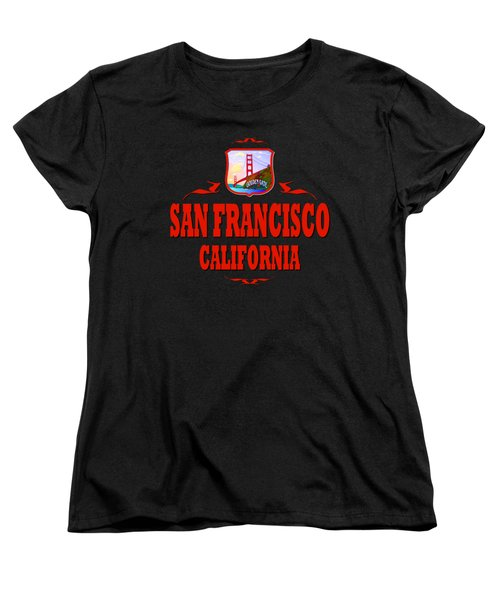 San Francisco California Tshirt Design Women's T-Shirt (Standard Cut) by Art America Gallery Peter Potter