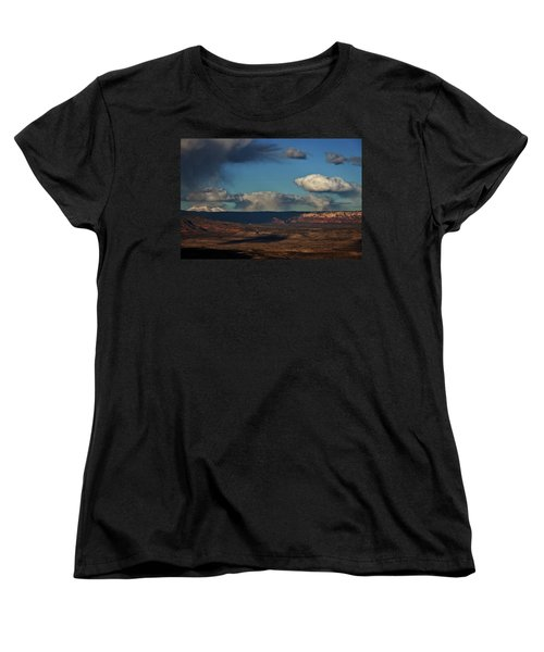 Women's T-Shirt (Standard Cut) featuring the photograph San Francisco Peaks With Snow And Clouds by Ron Chilston