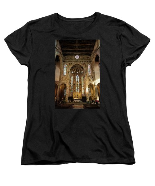 Women's T-Shirt (Standard Cut) featuring the photograph Santa Croce Florence Italy by Joan Carroll