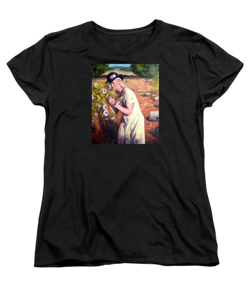 Women's T-Shirt (Standard Cut) featuring the painting Santa Fe Garden 2   by Donelli  DiMaria