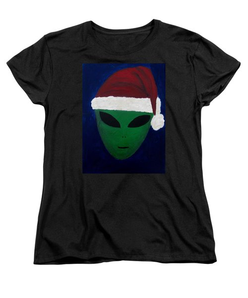 Women's T-Shirt (Standard Cut) featuring the painting Santa Hat by Lola Connelly