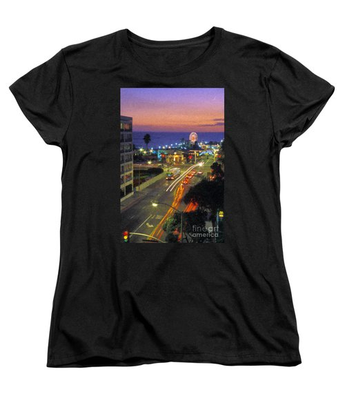 Women's T-Shirt (Standard Cut) featuring the photograph Santa Monica Ca Pacific Park Pier  Sunset by David Zanzinger