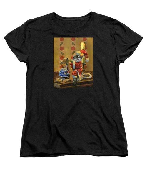 Santa Mouse Women's T-Shirt (Standard Cut) by Jeff Brimley