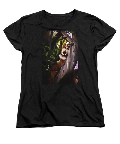 Women's T-Shirt (Standard Cut) featuring the painting Satisfied by Renate Nadi Wesley