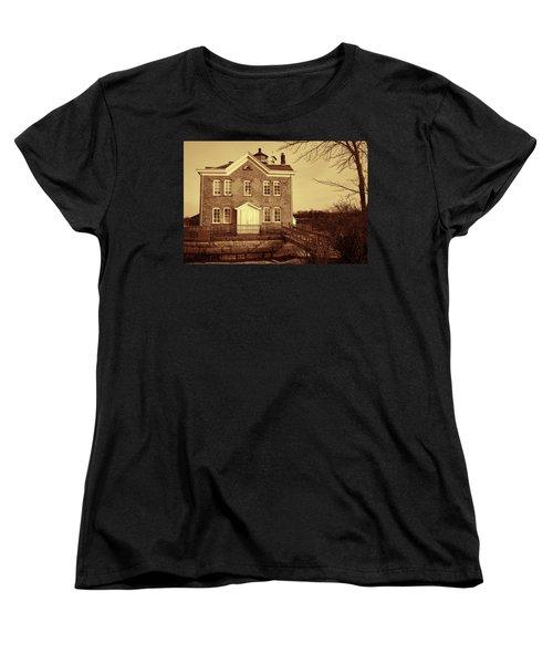 Saugerties Lighthouse Sepia Women's T-Shirt (Standard Cut) by Nancy De Flon