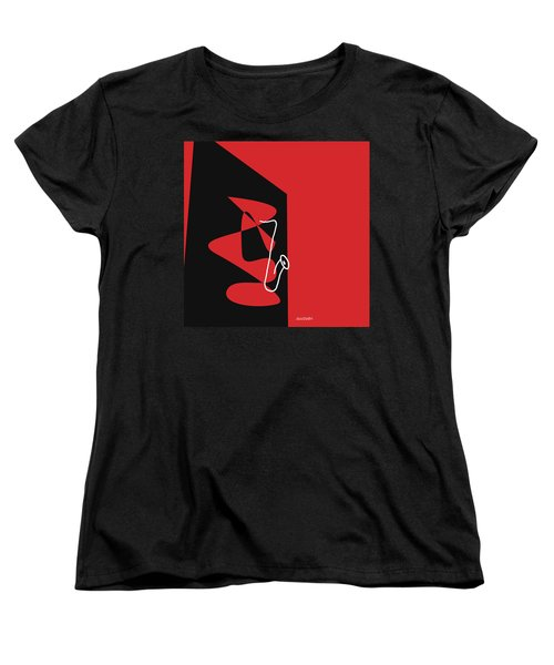 Women's T-Shirt (Standard Cut) featuring the digital art Saxophone In Red by Jazz DaBri