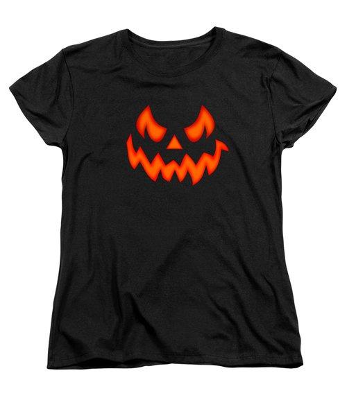 Scary Pumpkin Face Women's T-Shirt (Standard Cut) by Martin Capek