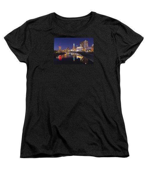 Women's T-Shirt (Standard Cut) featuring the photograph  Scioto Reflections - Columbus by Alan Raasch