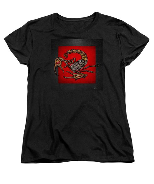 Scorpion On Red And Black  Women's T-Shirt (Standard Cut) by Serge Averbukh