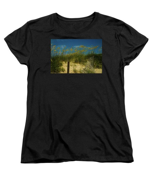 Women's T-Shirt (Standard Cut) featuring the photograph Sea Oats And Sand Fence by John Harding