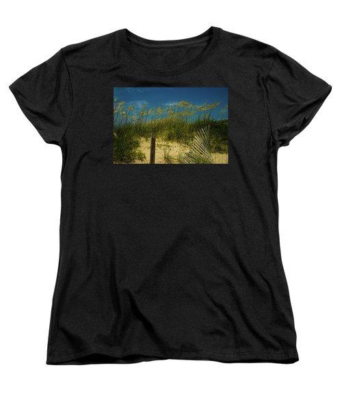 Sea Oats And Sand Fence Women's T-Shirt (Standard Cut) by John Harding