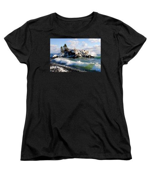 Sea Smoke At Hollow Rock Women's T-Shirt (Standard Cut) by Sandra Updyke