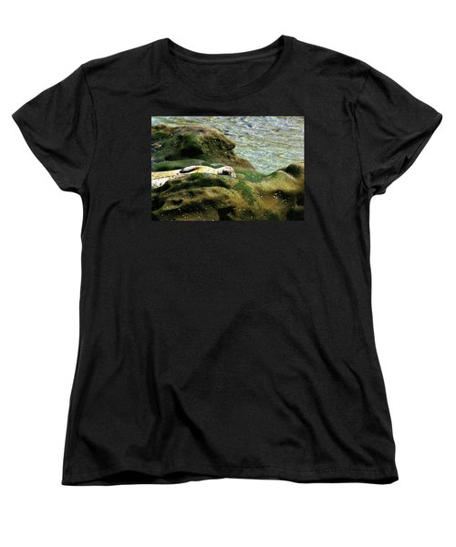 Women's T-Shirt (Standard Cut) featuring the photograph Seal On The Rocks by Anthony Jones