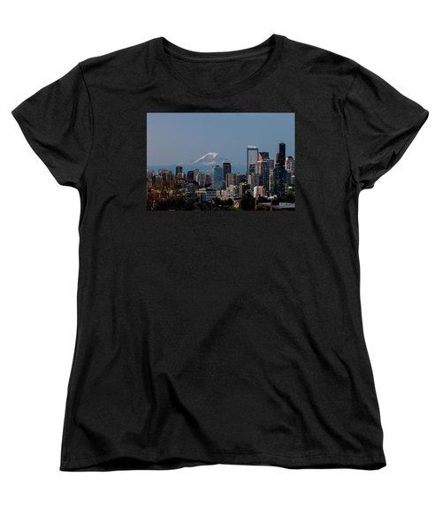 Seattle-mt. Rainier In The Morning Light .1 Women's T-Shirt (Standard Cut) by E Faithe Lester